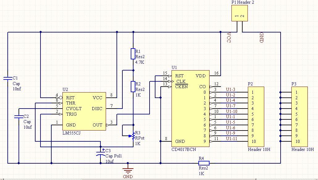 skematik rangkaian running led |